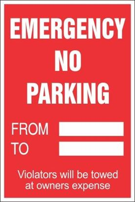 Picture of Emergency No Parking Paper Signs