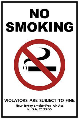 """Picture of 6""""x9"""" New Jersey Official No Smoking Sign"""