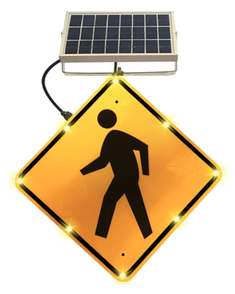 Picture of Solar LED Pedestrian Crossing Sign W11-2 24x24 EGP