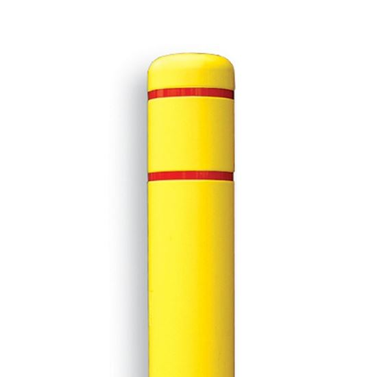 Picture of Post Guard Yellow Bollard Covers  with Reflective Red Stripes