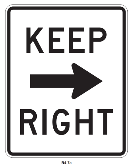 """Picture of 24""""x30"""" Keep Right with Arrow"""