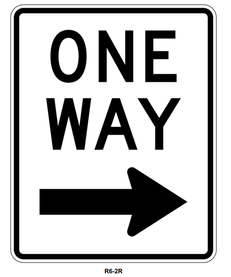 """Picture of 18""""x24"""" One Way with Right Arrow"""