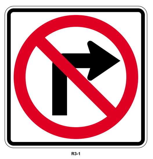 """Picture of 30"""" No Right Turn Symbol"""