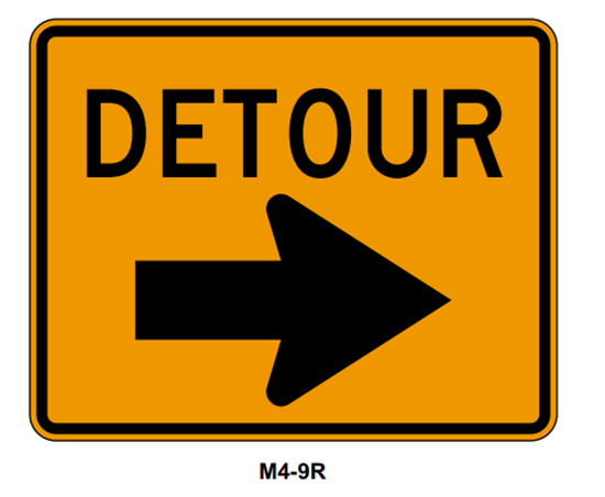 """Picture of 30""""x24"""" Detour with Right Arrow"""