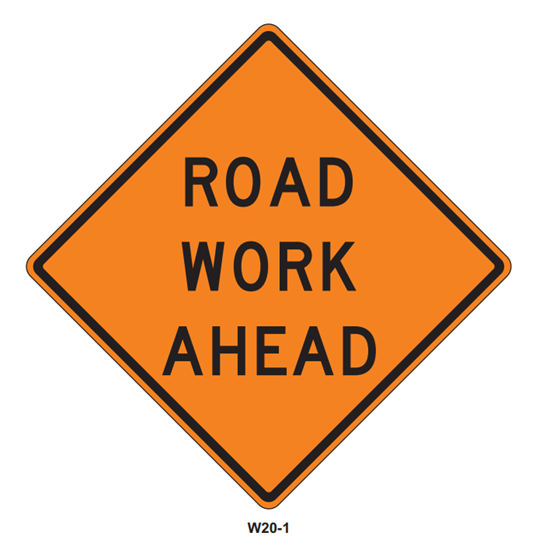 """Picture of 36""""x36"""" Road Work Ahead"""