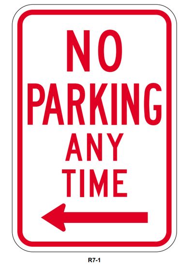 Picture of No parking any time with left arrow