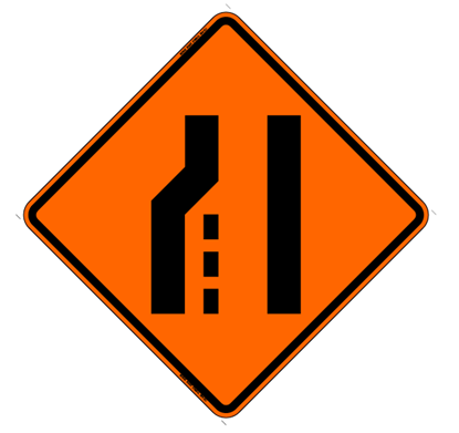 Picture of Roll Up Left Lane Ends Symbol