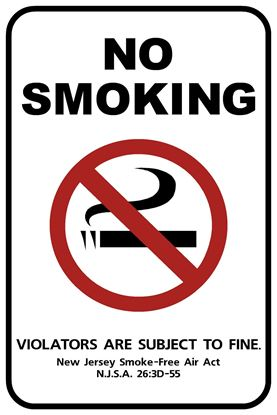 """Picture of 12""""x18"""" New Jersey Official No Smoking Sign"""