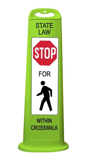 """Picture of 40"""" Vertical Panel Lime - Trailblazer - State Law Stop For Pedestrian Crossing"""