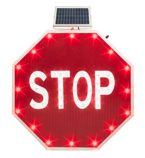"""Picture of Solar Powered Flashing Stop Sign - 24"""" EGP"""